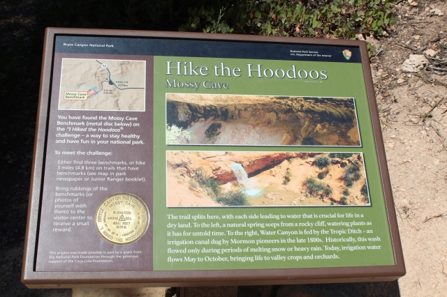 "This Nat'l Park has a ""Hike the Hoodoos"" program where they post these trail markers at various trails. It is a promotion for physical fitness/hiking."