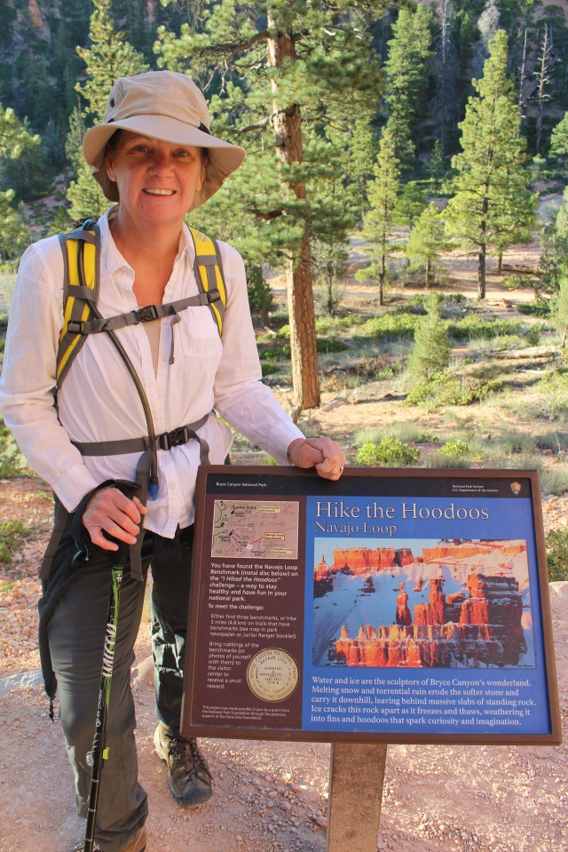 "Hey, looky there, Jeanne found the ""Hike the Hoodoos"" trail marker for Navajo Loop."