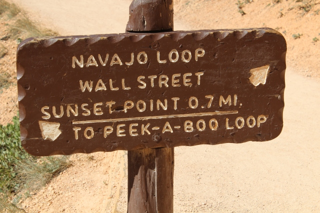 And our last junction, heading through Wall St. up to Sunset Point. This park gets an A+ for signage...