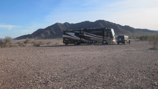 Our temporary back yard, boondocking in Quartzsite, AZ.