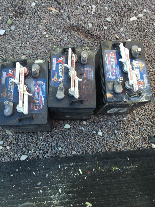 Old, gnarly, water filled batteries...