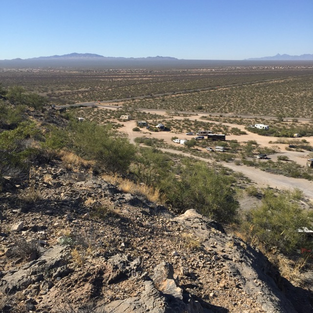 Mountaintop view of our boondocks spot at Snyder Hill, Tucson, AZ
