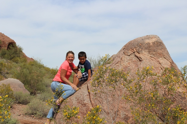 Hiking Papago Park with his Oma.