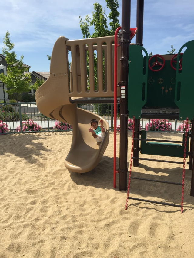 Our grandson, Max, enjoying the local playground.