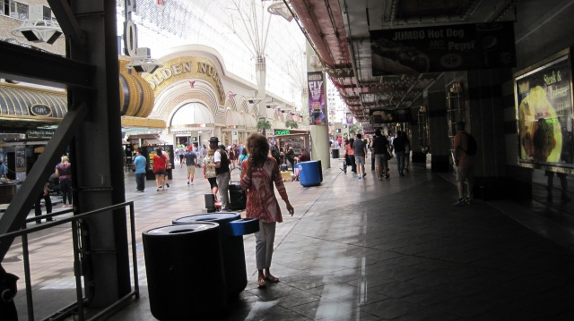 Looking down Fremont St. in the daytime.