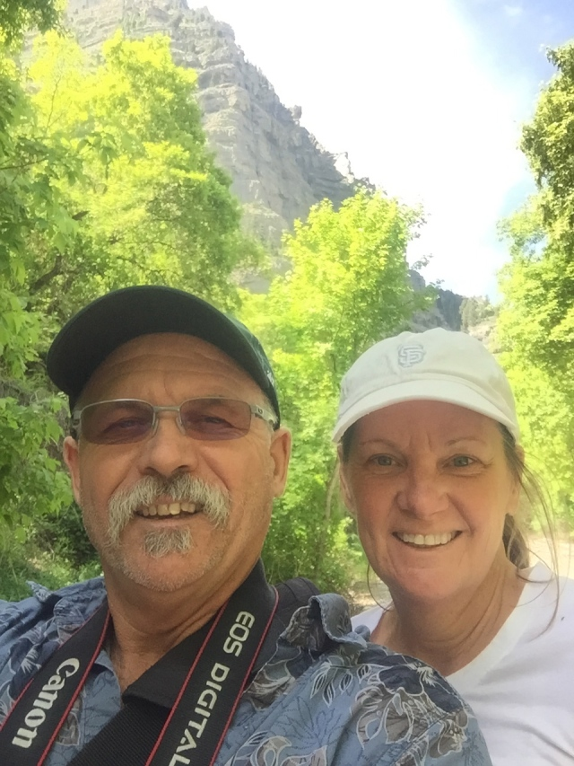 OK, a cheesy selfie taken on the walking trail at the Falls.