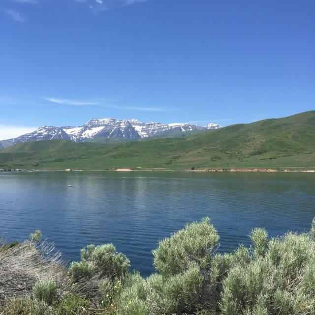 Looking across Deer Creek Reservoir.