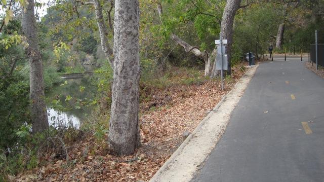 The trail runs alongside San Luis Obispo Creek.