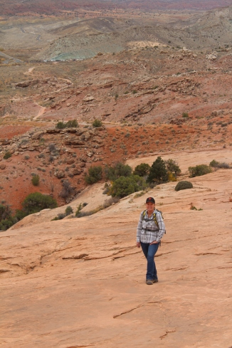 Jeanne did not need to huff and puff like the old guy did on the hike to Delicate Arch!