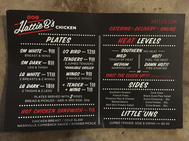 Hattie B's menu.