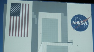 This is the logo face of the VAB. The American flag is 21 stories tall!