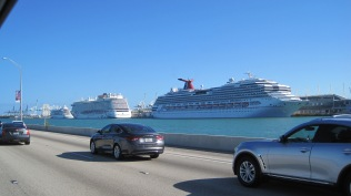 """Driving into Miami, it seemed there might be a """"cruise ship traffic jam""""..."""