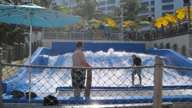 A little surfing in the wave pool at Margaritaville.