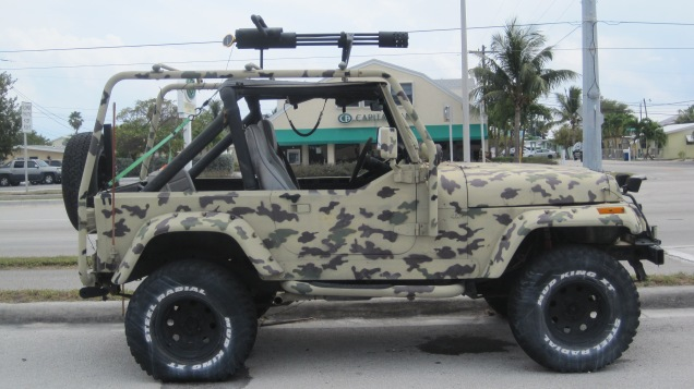 During our bike ride and in response to the Adam Henry drivers in south Florida, I got great inspiration to outfit our Jeep with a little extra hardware mounted on the top, probably 50 caliber variety.