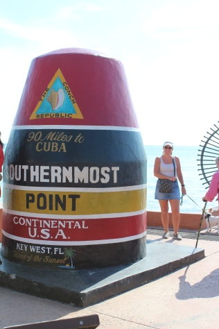 The Southernmost Point marker, only 90 miles south to Cuba...No, Jeanne did not push that elderly, cane wielding person out of the way to get this shot!