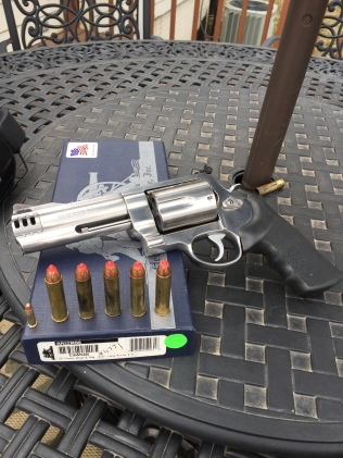 The Beast, a Smith & Wesson 460 Magnum. Note the ammunition used as it dwarfs the standard .22 round.