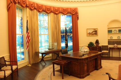 "Carter's replication of his oval office. Looks like he was sadly lacking ""personal touches"", like family photos. Maybe he had some inkling of his future in politics..."