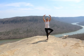 "Little Miss ""9.6 miles is not long enough"" just needed a little more physical work, so ""yoga on the rocks"" it is."