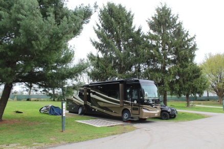 Our home at Kentucky Horse Park. The sites look like nice sites, but hard to see my front wheels are way up off the ground.