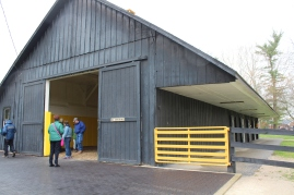 The Breeding Shed from an outside vantage point. I giggled incessantly as I noticed the sign on the barn door...