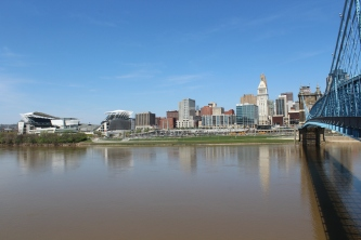 A look across the river to downtown Cincy and the Bengals stadium on the left.