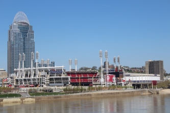 The Reds stadium, from the bridge.
