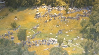 This is the diorama looking at Little Round Top, Valley of Death, and Slaughter Pen, with Devil's Den the rocky area at bottom of photo.