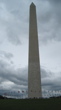 We caught the Washington Monument in between downpours.