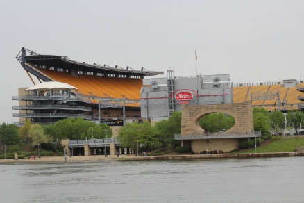 A look across the river at home of the Steelers. The concrete/brick portal at the lower right is a tribute/monument to Mr. Rodgers. I might go out on a limb here and suggest he is probably one of Pittsburg's native sons.