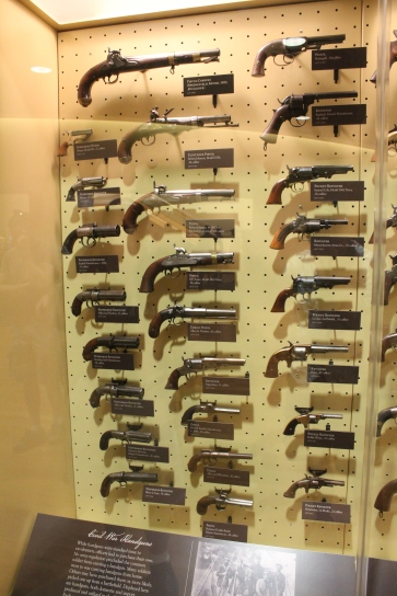 Inside the museum at the Visitor's Center are many displays of Civil War items, like this one of various pistols used.