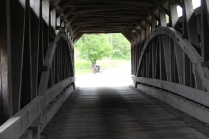 Pine Grove covered bridge. Automobiles are not the only users of the bridges.