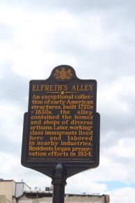 Marker for Elfreth's Alley.