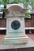 This is the monument marker to E.A. Poe in the front yard of the church. His gravesite, however, is in the backyard.