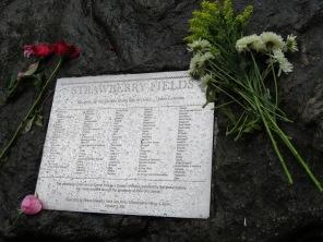 Part of the John Lennon tribute in Central Park.