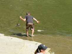 This guy was catching 3-5 lb. bass at the base of Ithaca Falls.