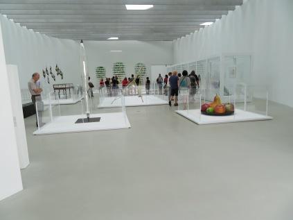 Glass art on display.