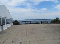 The view of the St. Lawrence River from the patio of St. Lawrence Distillery.