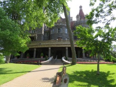 A view up the front walkway to Boldt's Castle.