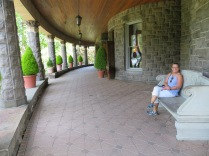 """Jeanne is enjoying the """"front porch"""" which just happened to wrap a longways around."""