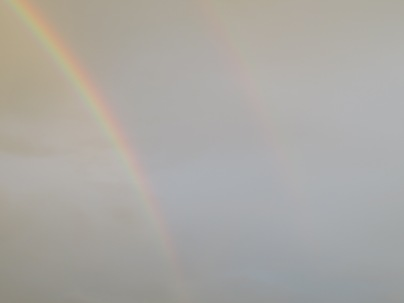 If you stare enough you can see the faint ghost of a second rainbow on this double rainbow.
