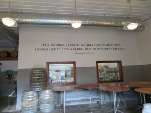 A few words of wisdom from Abe Lincoln written on the wall of Cooperstown Distillery.