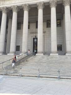 "Jeanne on the ""Law and Order"" steps."