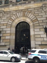 """Front door of the Federal Reserve. Machine guns say, """"No, you may not come in!"""""""