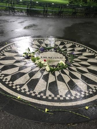 A tile mosaic tribute to John Lennon in Central Park.