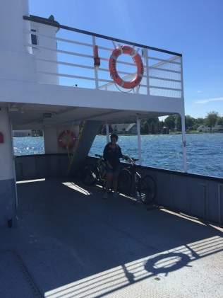 Taking the ferry to Wolfe Island, Canada.