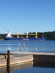 We got to watch a steady stream of huge ships from dockside as they all pass on the St. Lawrence River waterway.
