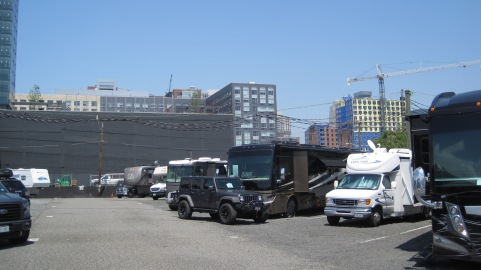 Looking toward Jersey City from the RV park. Not a lot of room for our Jeep, bigger rigs may have issues...