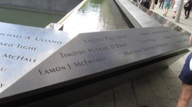 The Twin Towers Memorials have all the names etched around them. I could not get a very good overall picture.