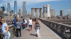 The pedestrian/bike path on the Brooklyn Bridge. Stay out of the bicycle half if you are on foot!!!
