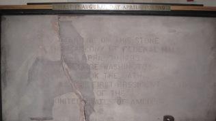 George Washington stood on this concrete slab to get sworn in as The Prez.